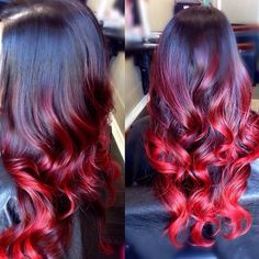 inches # / Red Ombre Loose Wave Remy Hair Weave 100 g / bundle - Colorful Hair Brown Ombre Hair, Ombre Hair Color, How To Ombre Hair, White Ombre, Corte Y Color, Remy Hair, Balayage Hair, Auburn Balayage, Hair Trends