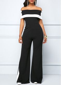 854f4484e243 Printed Off the Shoulder Long Sleeve Jumpsuit