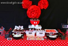 Minnie Mouse shape red front of the table
