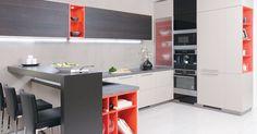 Konyhabútor - Style & Home Lakberendezési központ Modern Kitchen Furniture, Condo Furniture, Modern Kitchen Island, Open Plan Kitchen, Light Wood Cabinets, Wooden Cupboard, Kitchen Colour Schemes, U Shaped Kitchen, Brown Kitchens