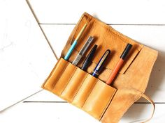leather roll pencase/travel pen by HibarryhillsTokyo on Etsy