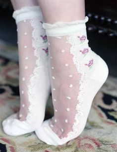 Swiss Dot Socks - Ruffle Trim Sheer Lacy Socks with Rose Motif