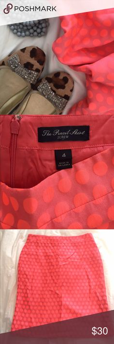 "J Crew Polka Dot Skirt EUC J Crew factory bright pink/coral pencil skirt in a 4. Fully lined, 15.25"" waist when lying flat, and 21"" long. Perfect addition to a spring wardrobe! J. Crew Skirts Pencil"