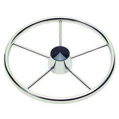 "Ongaro 170 13.5"" Stainless 5-Spoke Destroyer Wheel w/ Black Cap and Standard Rim - Fits 3/4"" Tapered Shaft Helm - https://www.boatpartsforless.com/shop/ongaro-170-13-5-stainless-5-spoke-destroyer-wheel-w-black-cap-and-standard-rim-fits-34-tapered-shaft-helm/"