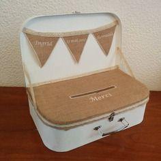 Valise urne tirelire vintage jute dentelle mariage anniversaire retraite communion...