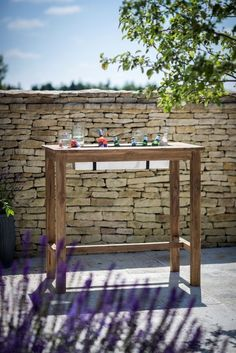 Buy St Mawes Bar Table with Drinks Cooler online by Garden Trading from CFS UK at unbeatable price. Outdoor Bar Table, Outdoor Tables And Chairs, Outdoor Decor, Bar Tables, Outdoor Living, Classic Kitchen Furniture, Metal Trough, Stone Bar, Pub Set