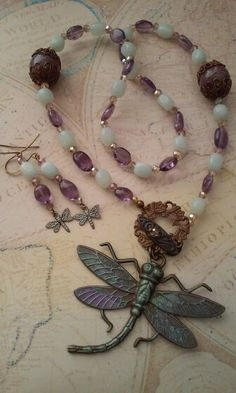 """July challenge set featuring dragonflies. Necklace and earrings have B'sue dragonflies with Perfect Pearls. B'sue """"toggle """" Crystal, Amazonite, Amethyst beads. By Renee Hong @ JewelryFineAndDandy.Etsy.com"""