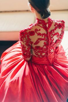 Bride in glamorous red embroidered wedding ball gown from That White Dress // Shaun and Vivian's Romantic Engagement Shoots in Penang and Ipoh Wedding Gown Images, Red Wedding Gowns, Wedding Gown A Line, Red Gowns, Luxury Wedding Dress, Perfect Wedding Dress, Colored Wedding Dresses, Wedding Photos, Wedding Ideas