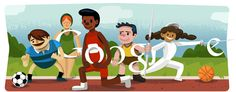 The doodle shows 5 athletes - incidentally also the number of rings in the Olympic logo - playing different Olympic sports. Google Doodles, London Olympic Logo, London Olympic Games, Olympics News, 2012 Summer Olympics, Images Google, Art Google, London Olympics Opening Ceremony, Videos
