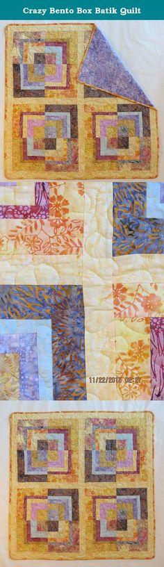 Crazy Bento Box Batik Quilt. Soft yellow, lavender and gold Indonesian batiks with lavender batik backing. 100% cotton. Gentle wash cold, line dry.