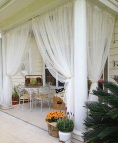 Great Sheer Curtains Are A Great Year Round Idea For Covered Porches  They Keep  The Bugs Out And Are Beautiful!