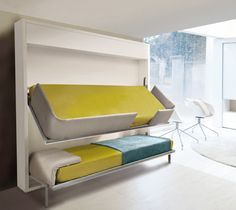 Lollisoft IN bunk bed system by Resource Furniture. Folds up into wall unit.