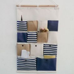 Hibote New Style Cotton Fabric Larger 13 Pockets Wall Door Closet Hanging Storage Bag Organizer Retro Navy Stripe-Blue: Amazon.co.uk: Kitchen & Home