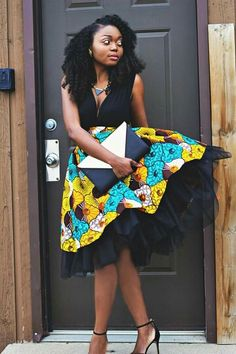 This is a high waist gather skirt made out of ankara african print fabric and a tulle fabric. African Inspired Fashion, African Dresses For Women, African Print Dresses, African Print Fashion, Africa Fashion, African Attire, African Wear, African Women, Fashion Prints