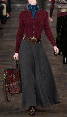 Like the overall look of this outfit - Ralph Lauren Fall 2013 burgundy red sweater charcoal heather grey long skirt bag blue velvet scarf Modest Outfits, Skirt Outfits, Modest Fashion, Cute Outfits, Pretty Outfits, Ralph Lauren Style, Ralph Lauren Clothing, Ralph Lauren Fashion, Review Fashion