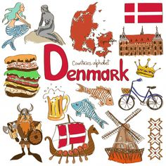 Denmark Illustration Travel The Word Landmark Wall Sticker Wedding Decor Vinyl Waterproof Wall Sticker Wallpaper Decal Flags Of European Countries, Countries Of The World, Denmark Culture, Geography For Kids, Teaching Geography, World Geography, Danish Culture, World Thinking Day, Our World