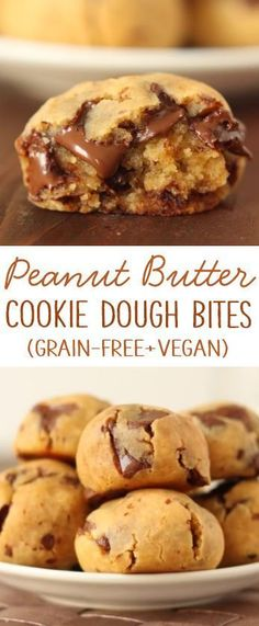 Peanut butter chocolate chip cookie dough bites with a secret ingredient! {natur… Peanut butter chocolate chip cookie dough bites with a secret ingredient! {naturally gluten-free and grain-free with a vegan / dairy-free option} Dairy Free Recipes, Vegan Recipes, Cooking Recipes, Chickpea Recipes, Easy Cooking, Dairy Free Meals, Dairy Free Deserts, Diet Recipes, Peanut Butter Recipes