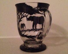 1 Hand painted elephant coffee mug