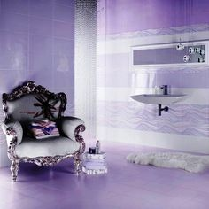 Purple bathroom with chair