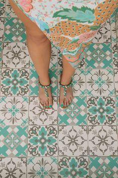 Peranakan bathroom tiles at Hotel Indigo, Singapore