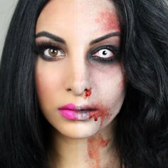 With this half zombie makeup you'll be the envied one at this halloween makeup zombie eyes - Halloween Makeup Halloween Zombie Makeup, Zombie Eyes, Maquillaje Halloween, Scary Halloween, Halloween Party, Halloween Ideas, Halloween 2018, Halloween Night, Halloween Stuff