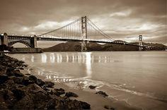 Golden Gate Bridge - Sepia - San Francisco Cityscape by Gregory Ballos