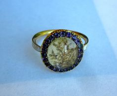 Antique Georgian (1770) Amethyst and Hair Mourning 18K RIng