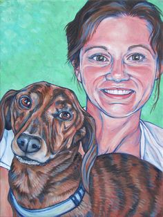 Peggy the human and her dog Dixon the Shorthaired Brindle Dachshund 9x12 acrylic on canvas