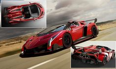 Lamborghini launch most expensive car in world: Veneno Roadster does 221mph and costs £3.3million [PHOTOS]: -- The jaw-dropping Lamborghini Veneno Roadster is a limited edition hypercar which goes without a roof. It has been designed by the Italian firm to drive like a race car while being entirely road legal - making it one of the most extreme vehicles ever built.