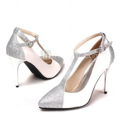 Women's Shoes Pointed Toe Stiletto Heel T-Strap Wedding Shoes More Colors available - GBP £ 23.44
