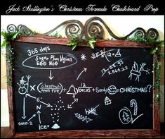 DIY Nightmare Before Christmas Halloween Props: Jack's Christmas Formula Chalkboard.  You really should check out this website -- this woman has countless tutorials on NBC props that are inexpensive and easy to follow.  She is a Nightmare Before Christmas Rock Star!!!