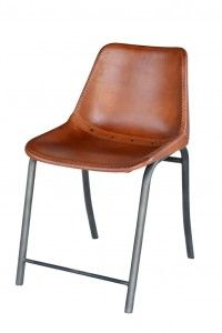 "Brown Dining Height Stiched Leather Chair - Dimensions: x x H""."
