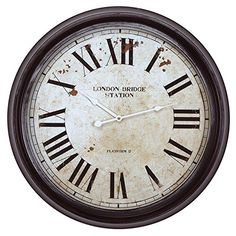 Yosemite Home Decor CLKA9B363ND Circular Iron Wall Clock Black Frame White Face Black Text White Hands * Click image to review more details.-It is an affiliate link to Amazon. #Clocks