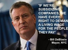 Living wage.NYC Mayor De Blasio Wants Corporate Welfare Queens 2Pay  Living Wage  Raise the minimum wage