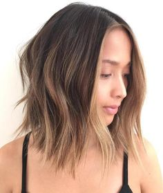 Shaggy Brown Balayage Lob