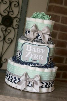 3 Tier Navy Mint and Gray Arrow Diaper Cake by BabeeCakesBoutique