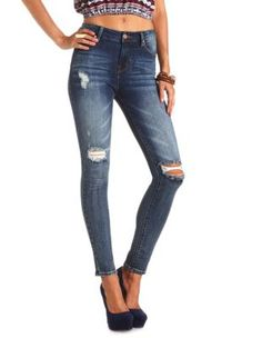 "refuge ""hi-rise skinny"" destroyed dark wash jeans- Charlotte Russe"
