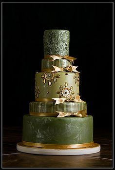 Tammie Coe Cakes: Wedding Cakes - green gold fondant