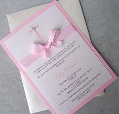 Invitación de bautizo rosa invitación invitación por TheExtraDetail