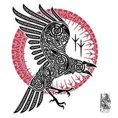 Celtic Norse Raven Tattoo Design by Dawbun Norse Tattoo, Celtic Tattoos, Viking Tattoos, Arm Tattoo Viking, Celtic Raven Tattoo, Thai Tattoo, Maori Tattoos, Tribal Tattoos, Viking Symbols