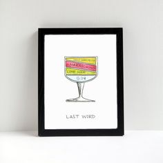 Cocktail Diagram Print Last Word Cocktail by drywell on Etsy
