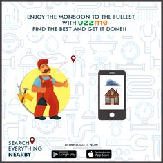 Monsoon brings great beauty to climate along with some problems at home like Heavy Raining leakages, Shutters damage etc. For any home Improvements, you can easily find on UzzMe and fix in this monsoon season. Getting Things Done, Monsoon, Shutters, Google Play, Home Improvement, Bring It On, How To Get, Seasons, App
