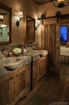 15 Dreamy Sliding Barn Door Designs is part of Rustic bathroom designs 15 Dreamy Sliding Barn Door Designs that are sure to inspire! Barn Door Designs, Rustic House, House Design, Bathroom Decor, Bathrooms Remodel, New Homes, Rustic Bathrooms, Home Decor, House Interior