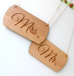 Rustic Wedding Chair Hangers Signs - Wooden MR & MRS Signs - Wooden Engraved Shabby Chic Signs - Wedding Reception, Photo Props