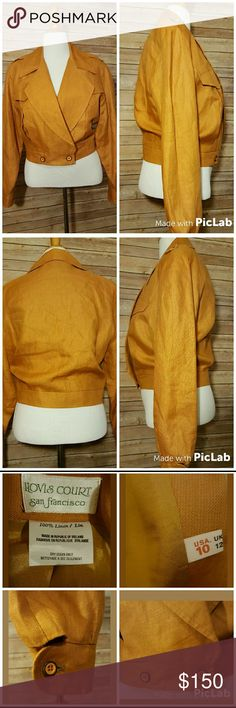 """Linen 80's Inspired Gold High Waisted Jacket 100% Linen  Made in Ireland  2 front flap pockets  Buttons at the very bottom  Padded shoulders (not removable)  Possibly vintage  Lining 100% Acetate Color is a gold. Looks almost mustard yellow with a slightly more orange tint. Really unique.  Armpit to armpit 19""""  Shoulder to hem 20.5""""  Sleeve 24"""" Hovis Court San Francisco  Jackets & Coats"""