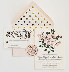 The Most Gorgeous Wedding Invitations I've ever seen! Custom Hand Painted Wedding Invitation Suite/Set of 25 Gold and Blush floral and polka dots Etsy Snow Wedding, Wedding Paper, Our Wedding, Wedding Bells, Rustic Wedding, Wedding Week, Spring Wedding, Wedding Verses, Wedding Ceremony