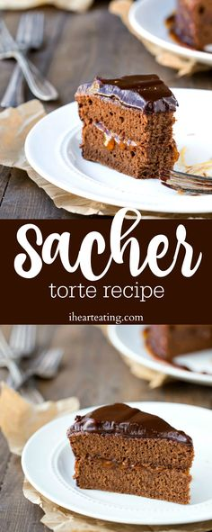 Sacher Torte Recipe - classic chocolate sponge cake with apricot jam filling and chocolate ganache icing! Such a yummy dessert!