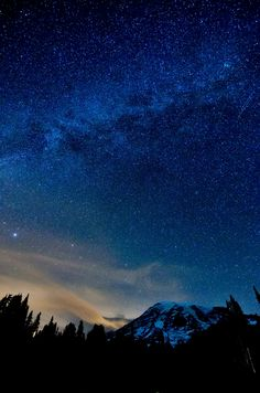 "moody-nature: "" Milky Way over Mount Rainier 