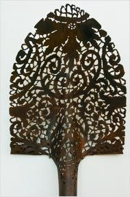 Turning Steel Into Lace - art by Cal Lane;  she uses a blowtorch to transform ordinary metal objects into beautiful art
