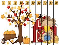 Granny Goes to School: Turkey Fun, an Emergent Reader, and a Freebie Classroom Freebies, Math Classroom, Kindergarten Math, Classroom Helpers, Fall Preschool Activities, Thanksgiving Preschool, Preschool Math, Maths Puzzles, Counting Puzzles